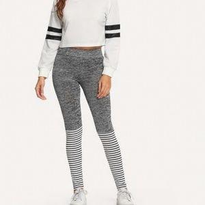 Pants - Gray Striped Sporty Leggings
